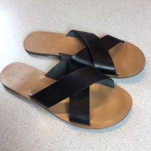 J crew Seaside Sandal black Leather Slip on 10